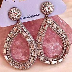 NWT Deepa Gurnani Silver Crystal Hoop Chandeliers